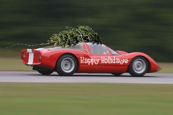 Race car with a tree